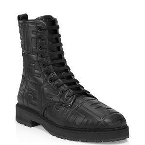 Fendi embossed logo black combat boots, size 38.5